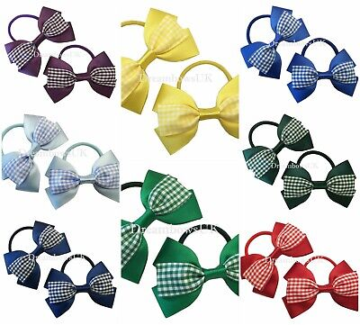 Summer gingham hair bows on thick bobbles, Gingham hair accessories, girls bows