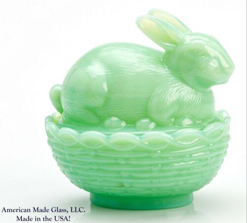 Jade Jadeite Jadite Green Glass Bunny Dish - Mosser USA