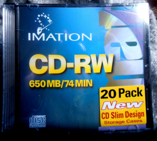 IMATION CD-RW NEW SEALED 20 PACK 650 MB 74 MINUTES
