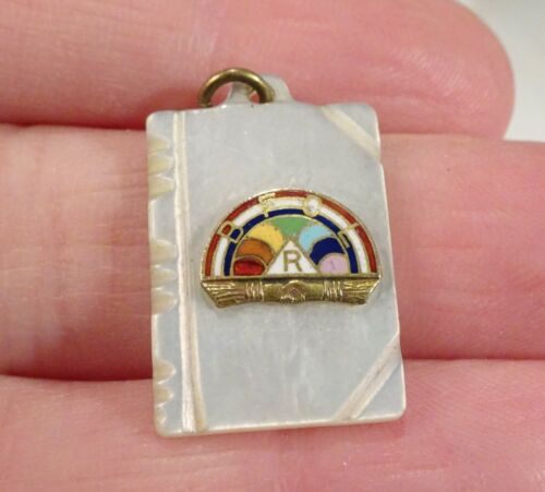 Vintage BFCLR Rainbow Girls Enamel Mother of Pearl Pendant Charm - 59329