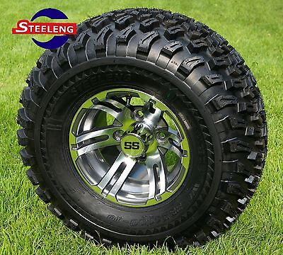 "GOLF CART 10"" GUNMETAL BULLDOG ALUMINUM WHEELS and 22"" ALL TERRAIN TIRES (4)"