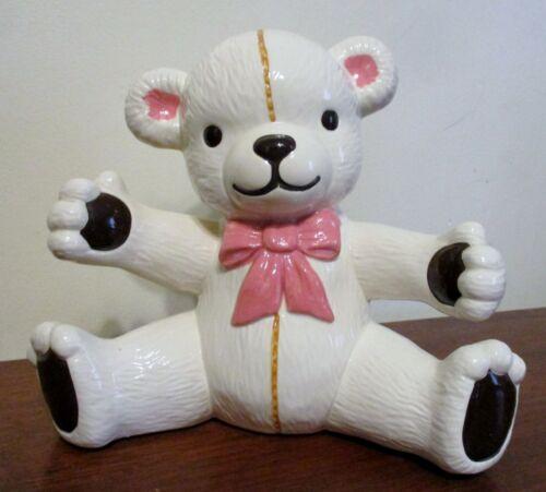 """Ceramic White Teddy Bear Piggy Bank ~7 3/4"""" Tall~SUPER CUTE! Pink Bow EUC"""