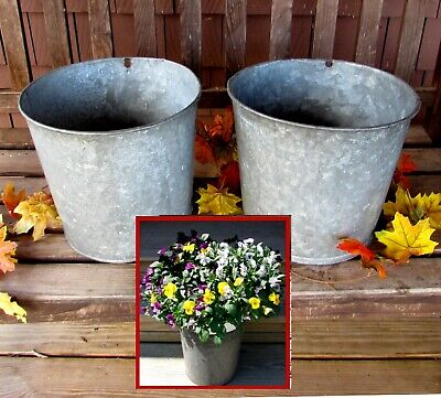 2 GALVANIZED Sap Buckets OLD PATINA Flowers DECOR Need More?