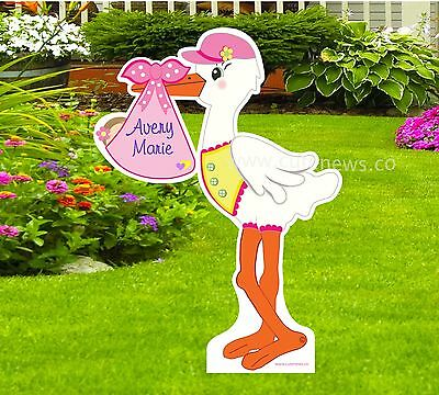 It's a Girl Custom Yard Stork Sign - New Baby Lawn Announcement (4 Feet Tall) - Baby Lawn Signs