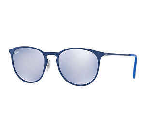 4b4bf61e5a21d Ray-Ban Erika Metal RB 3539 90221u Rubber Electric Blue Sunglasses Grey  Flash