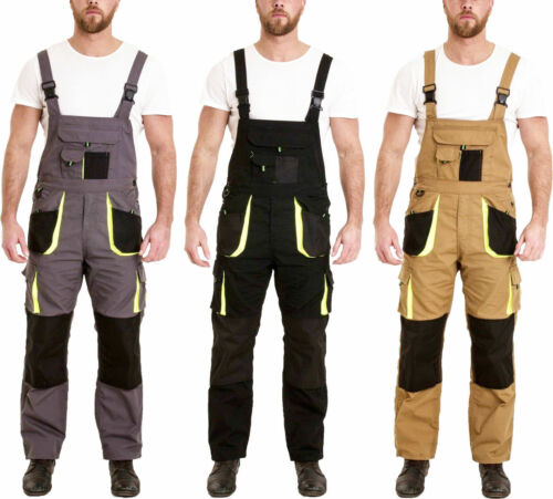 Mens Work Dungarees Bib and Brace Overall Working Trousers Multi Pockets Pants