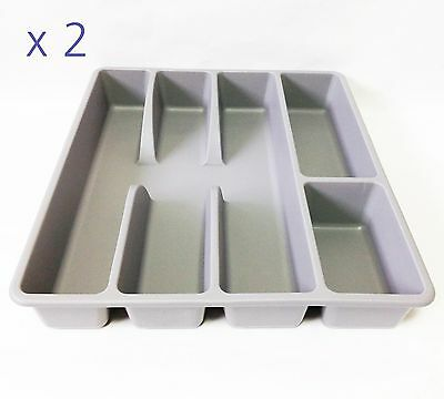 x 2 IKEA Smacker Cutlery Tray Drawer Tidy Grey multi-purpose tray