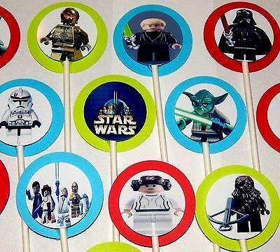 30 LEGO STAR WARS  Cupcake Toppers Birthday Party Favors, Decoration 30  - Lego Star Wars Party