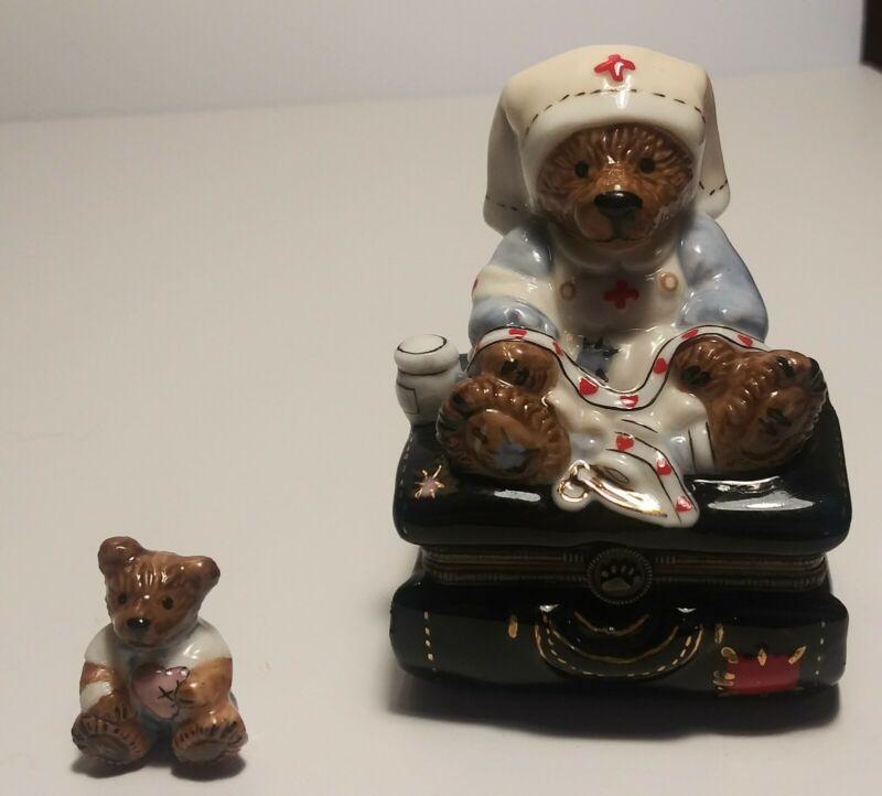 Boyds Bearware Pottery Nurse Trinket Box