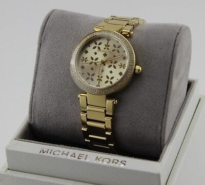 NEW AUTHENTIC MICHAEL KORS MINI PARKER GOLD CRYSTALS WOMEN'S MK6469 WATCH