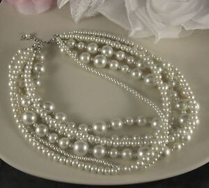 SHORT LENGTH MULTI-STRAND WHITE VARIOUS SIZED GLASS PEARL NECKLACE