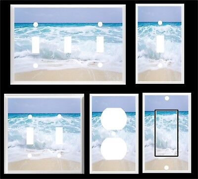 OCEAN WAVES WHITE CAPES  BEACH LIGHT SWITCH COVER PLATE   MULTI SIZES - Beach Light Switch Covers