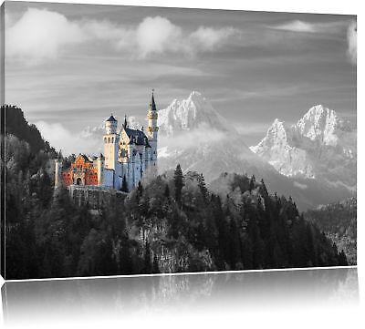 Schloss Leinwand Kunst (Schloss Neuschwanstein im Herbst Leinwandbild Wanddeko Kunstdruck)