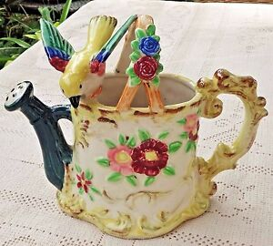 VINTAGE-1950-039-s-HAND-PAINTED-PORCELAIN-PLANTER-YELLOW-BIRD-PERCHED-ON-WATER-CAN