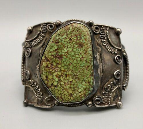 Fantastic Green Webbed Turquoise and Sterling Silver Bracelet