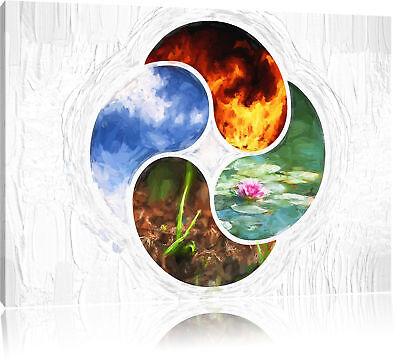 Vier Pinsel (Die vier Elemente Kunst Pinsel Effekt Leinwandbild Wanddeko Kunstdruck)