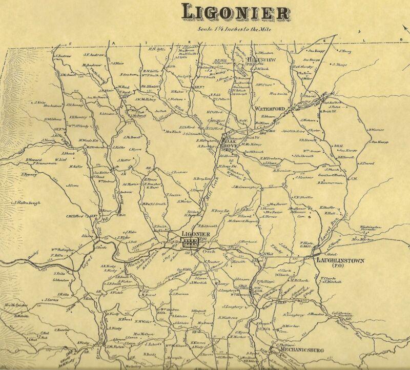 Ligonier Waterford Laughlintown Oak Grove PA 1867 Maps Landowners Names Shown