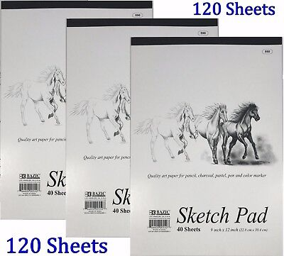 3 High Quality Premium Sketch Book Drawing Paper Pad 120 Sheets 9