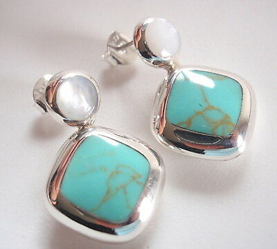 Reversible Blue Green Turquoise Mother of Pearl Sterling Silver Stud Earrings -