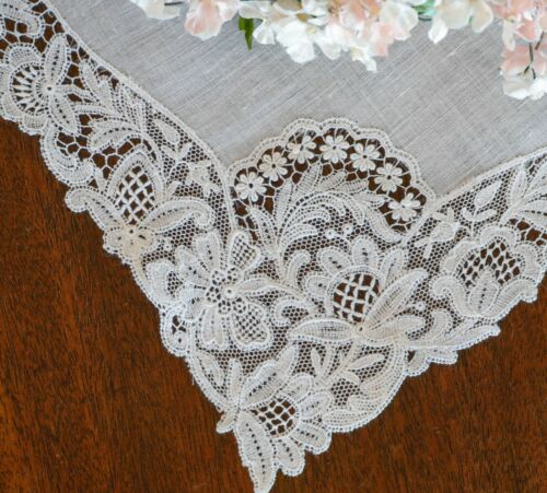 Fine Antique Schiffli Lace Bridal Wedding Hanky