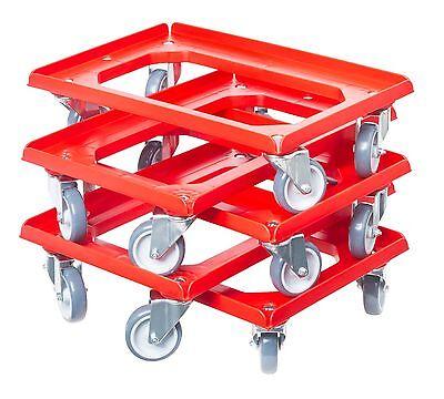 5 x Transportroller Transportwagen Rolli für Kisten 60 x 40 cm mit 4 Lenkrollen