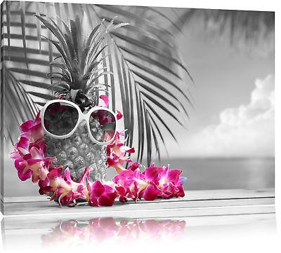 Ananas mit Sonnenbrille schwarz/weiß Leinwandbild Wanddeko Kunstdruck