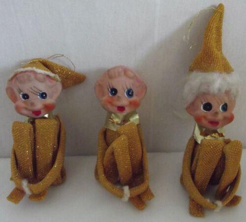 "Lot of 3 Vintage Knee Hugger Gold Metallic Christmas Ornament Elves 3-1/2"" pixie"