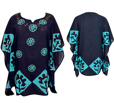 Tie-Dye Batik Print Kaftan Tunika Kleid Poncho STICKEREI Boho Strand 44 46 48  ()