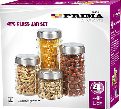 4PC PASTA KITCHEN GLASS JAR CANISTER FOOD STORAGE CONTAINER TEA COFFEE SNACKS