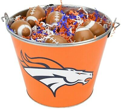 Denver Broncos Easter Basket NFL - with Football Eggs and Team Color Grass - Denver Broncos Halloween