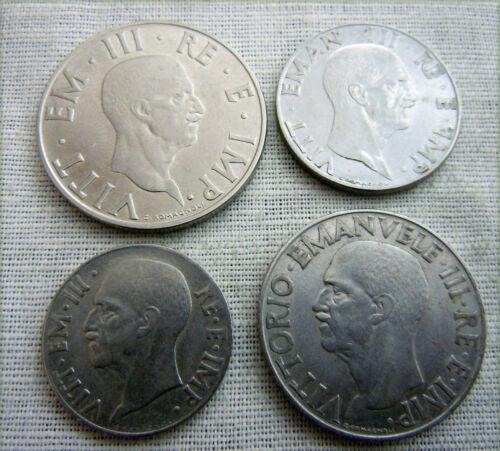 WW2   1939-1943 Italian complet SET 4 COINS 1940 ERA FASCIT XVIII