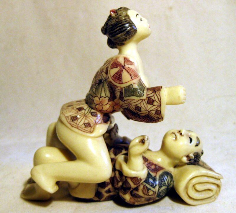 Japanese Asian Vintage Netsuke Style erotic figurine Set
