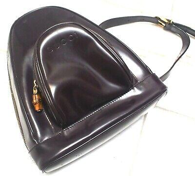 Gucci Vintage Mini Dark Brown Backpack Slingbag bamboo