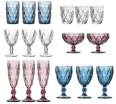 6X SYROS LINE Vintage sundae tumblers flutes wine Glasses Bowls PINK BLUE CLEAR