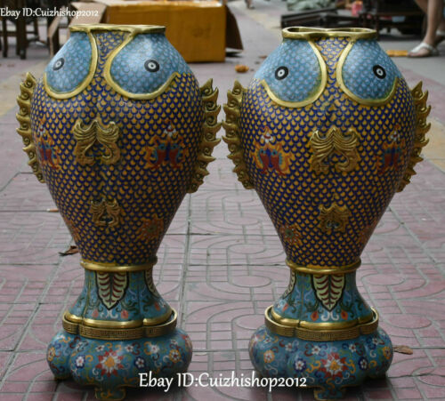 """19"""" Unique Cloisonne Enamel Gilt Dragon Fish Flower Vase Bottle Flask Pot Pair"""