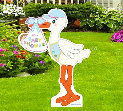 Welcome Baby Yard Signs (Outdoor Baby Shower Yard Stork Sign Decoration- Gender Neutral Lawn (4 ft)