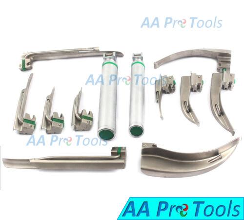 Set Of 12 Fiber Optic Mac & Miller Laryngoscope Blade+2 Handle Incubation