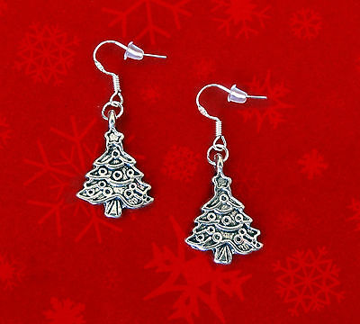 BUY 3 GET 1 FREE~SILVER CHRISTMAS TREE DANGLE EARRINGS~CHRISTMAS GIFT FOR WOMEN