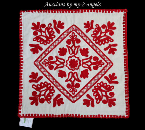 NEW Pottery Barn ELSIE EMBROIDERED PILLOW COVER * scandinavian texture RED