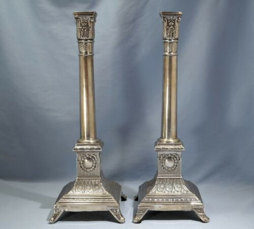 Antique Polish 840 Silver Corinthian Columns Candlesticks Early 20th Century