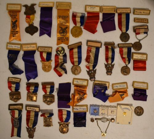 Lot Fraternal Order of Eagles F.O.E. Aerie Convention Badges, Pins, Coins, Etc.
