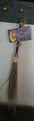 WITCHES STRAW BROOM Rustic Halloween Trick or Treat Sign Home Decor NEW - Halloween Broom Treats