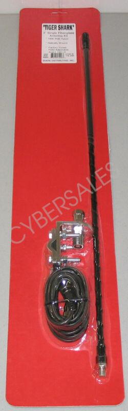 SINGLE 2 ft Black CB Radio Antenna kit w mount + coax 1000w Superior Quality