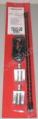 Dual 2 ft Black fiberglass CB Antenna kit w mounts + coax 1000w Superior quality