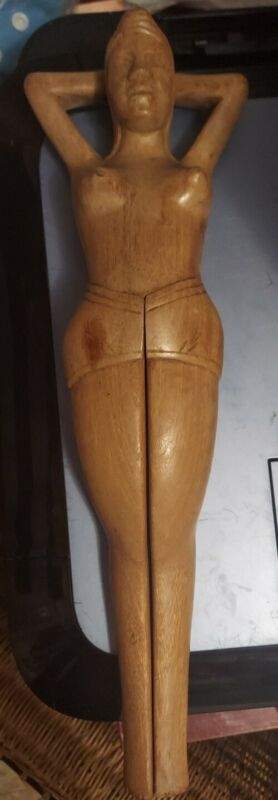 Vintage Hand Carved Wooden Naked Nude Woman Lady Nutcracker Folk Art Carving