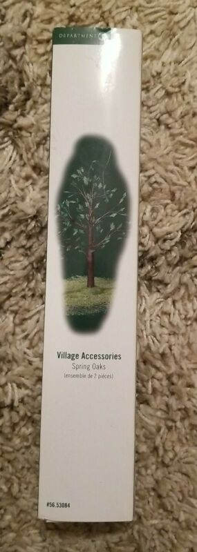 NIB Dept 56 Spring Oak Village Accessories set Of 2 Trees