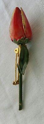 VINTAGE BROOCH ROSE ENAMEL DESIGNER SANDOR PIN FLOWER COLLECTABLE