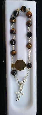 "Tigers Eye Beads Sterling Sterling Rosary Bracelet New 7"""