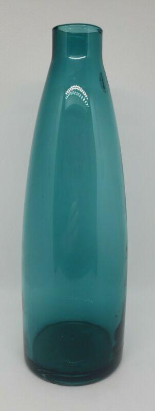 "IKEA Retired Mildra Aqua Blue Glass Decorative Vase Bottle Handmade 11"" EUC"