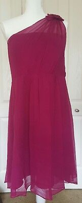 - Ann Taylor Silk Georgette Flower One Shoulder Bridesmaid Formal Dress 14p $265